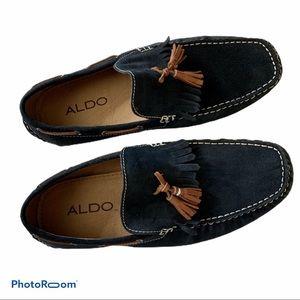 ALDO navy blue suede tassel loafer boatshoe 40